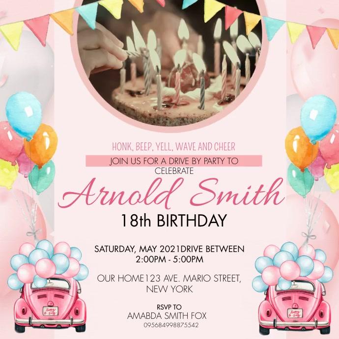Pink Watercolor Quarantine Birthday Invitatio Square (1:1) template