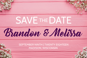 Pink Wedding Announcement
