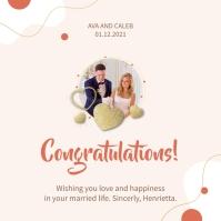 Pink wedding congratulations wish Instagram Post template