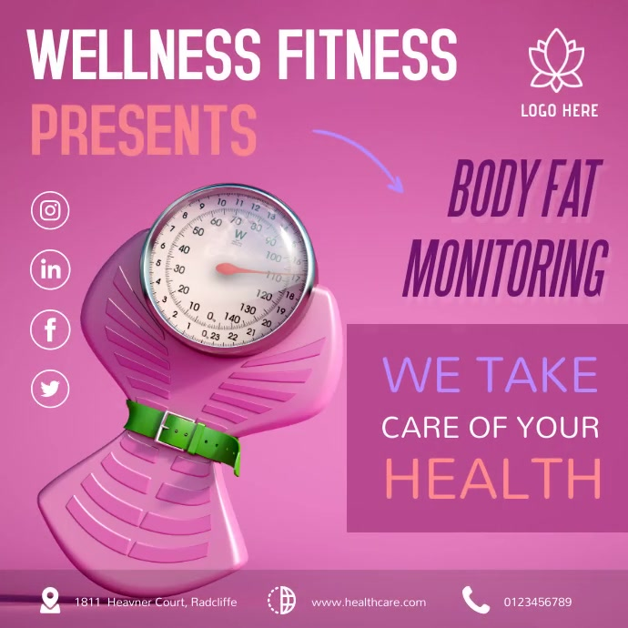 Pink Wellness Challenge Month Instagram Video Square (1:1) template