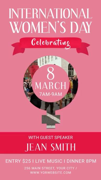 Pink Women's Day Event Portrait Digital Display Video
