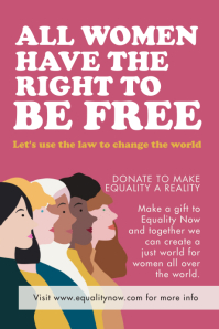 Pink Women's rights poster template