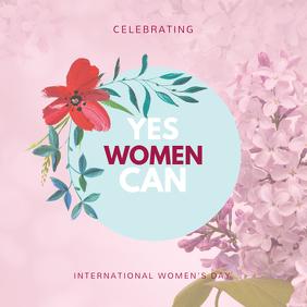 Pink Women's Day Motivational Instagram Template