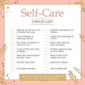 Pink Work from Home Self-care Checklist Instagram Post template