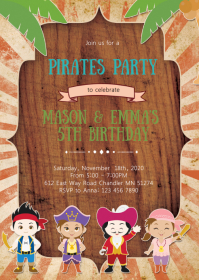 Pirate girl boy birthday party invitation