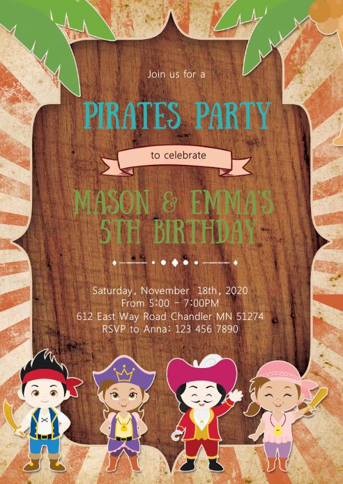 Pirate girl boy birthday party invitation