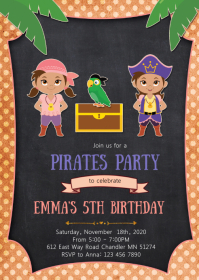 Pirate girls birthday party invitation