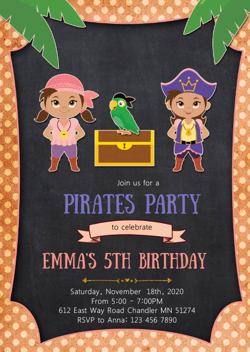 Pirate girls birthday party invitation