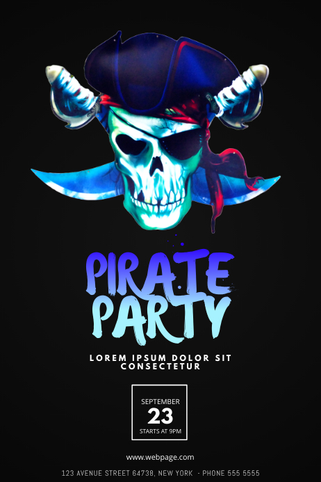 pirate party flyer template postermywall