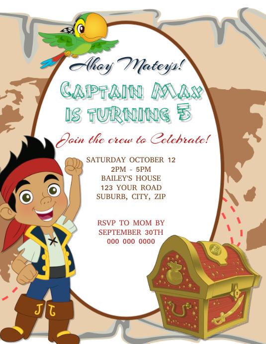 Pirates Birthday Invitation Template