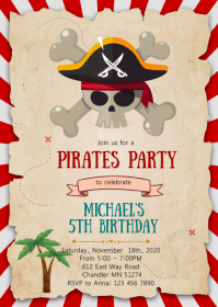 Pirates birthday party invitation A6 template