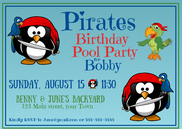 Pirates Birthday Party Invitation Kartu Pos template