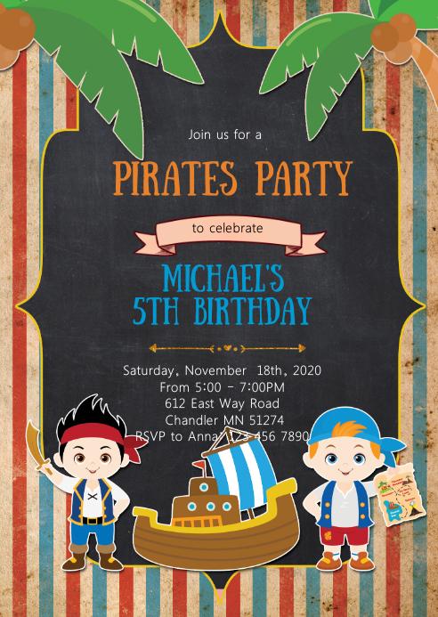 Pirates birthday party invitation