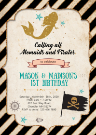 Pirates mermaids birthday party invitation