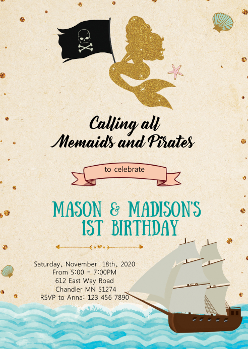 Pirates mermaids birthday party invitation A6 template