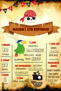 Pirates Milestones birthday template Poster