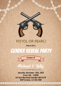 Pistol or pearl gender reveal card