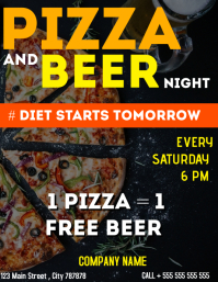 Pizza and beer night flyer advertisement