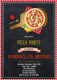 Pizza birthday party invitation A6 template
