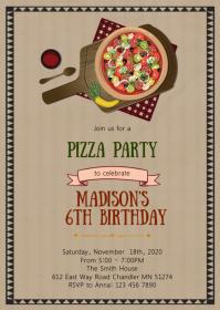 Pizza birthday party invitation