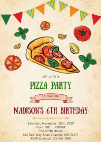 Pizza birthday party invitation A6 template