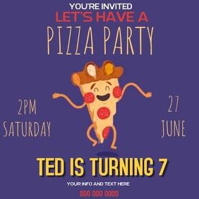 PIZZA BIRTHDAY PARTY SOCIAL MEDIA TEMPLATE Instagram Post