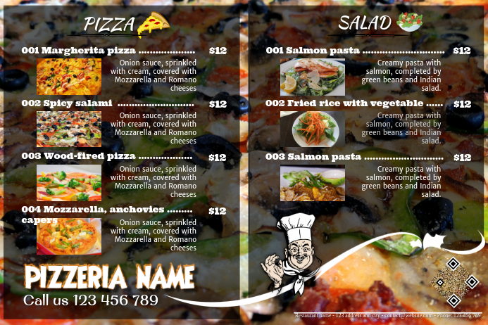 Pizza Brochure Template Pizza Menu Flyers Food Poster - Food brochure templates