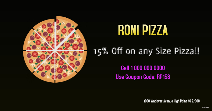 Pizza Coupon fb ad Annuncio Facebook template
