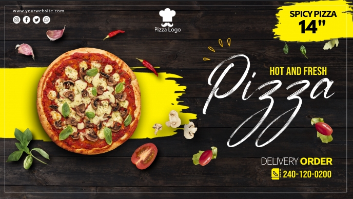 Pizza Cover Ads Facebook-covervideo (16:9) template