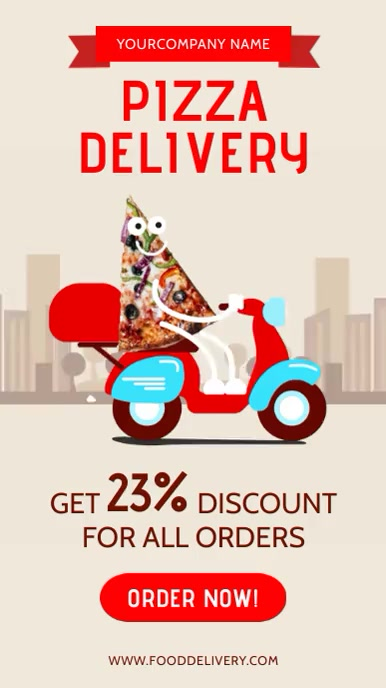 Pizza delivery at home Instagram-verhaal template