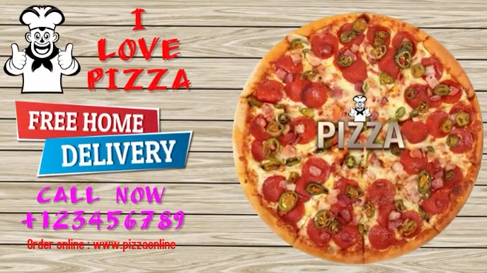 Pizza delivery display Digitale Vertoning (16:9) template