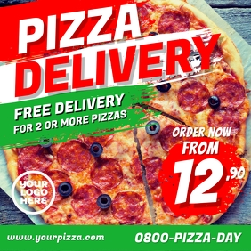 Pizza delivery restaurant flyer instagram ad Square (1:1) template