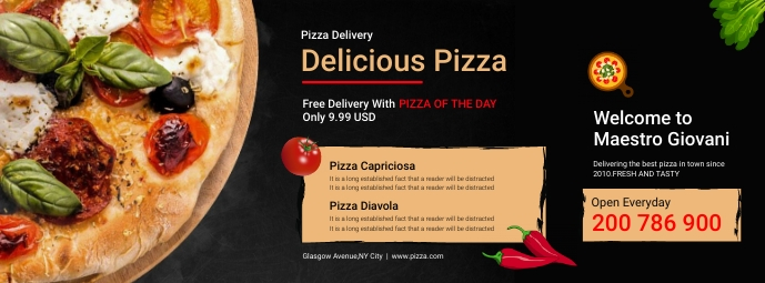 Pizza Delivery Service Poster Facebook-omslagfoto template
