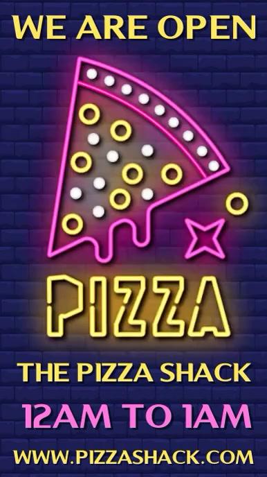 Pizza Digital Neon Sign Social Media Template