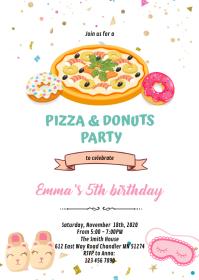 Pizza donuts girl slumber invitation A6 template