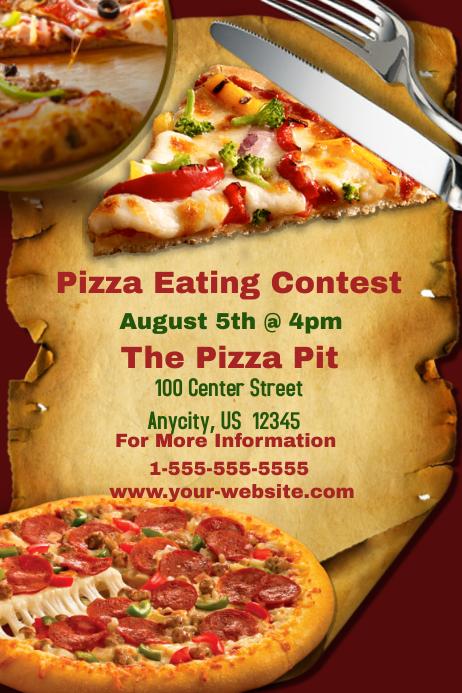 Plantilla de Pizza Comiendo Concurso   PosterMyWall