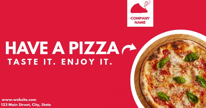 pizza facebook advertisement red and white template