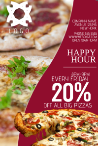 pizza fast food italy happy hour flyer template