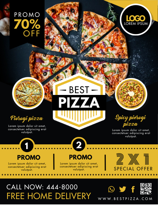 Pizza Fast Food Take Out and Delivery Service Flyer (US Letter) template