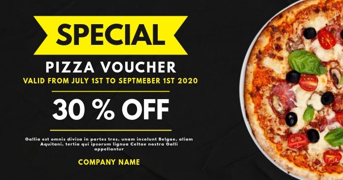 pizza gift voucher design template Facebook 共享图片