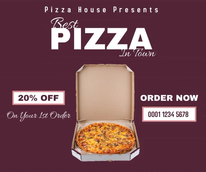 Pizza house discount medium rectangle online 中型广告 template