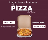 Pizza house discount Roll Up Banner online ad Grand rectangle template