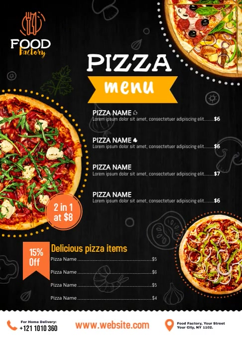 Pizza Menu Ad A4 template