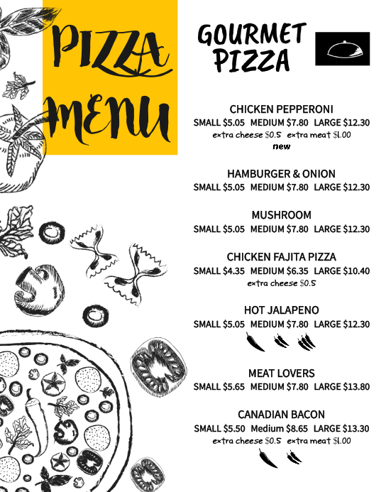 Pizza Menu Card Template Poster/Wallboard