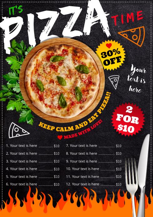 PIZZA MENU A4 template