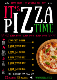 PIZZA MENU A4 template