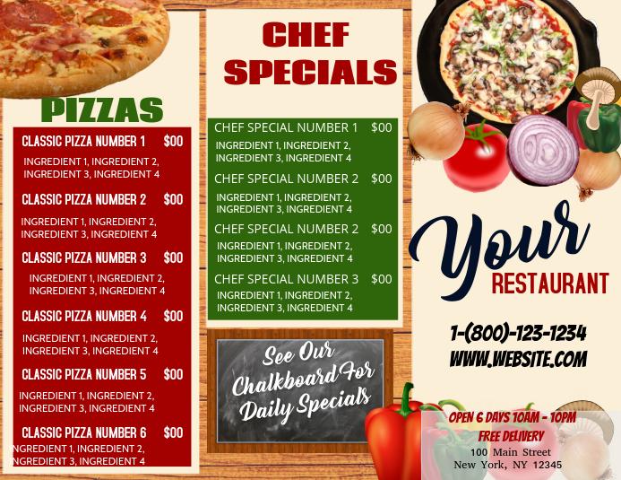 Plantilla de Menú de Pizza | PosterMyWall