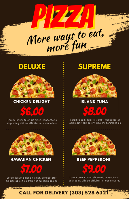 Pizza Menu Flyer Template Postermywall