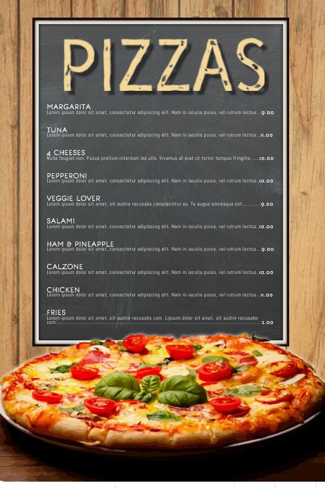 Plantilla de Restaurante de Menú de Pizza | PosterMyWall