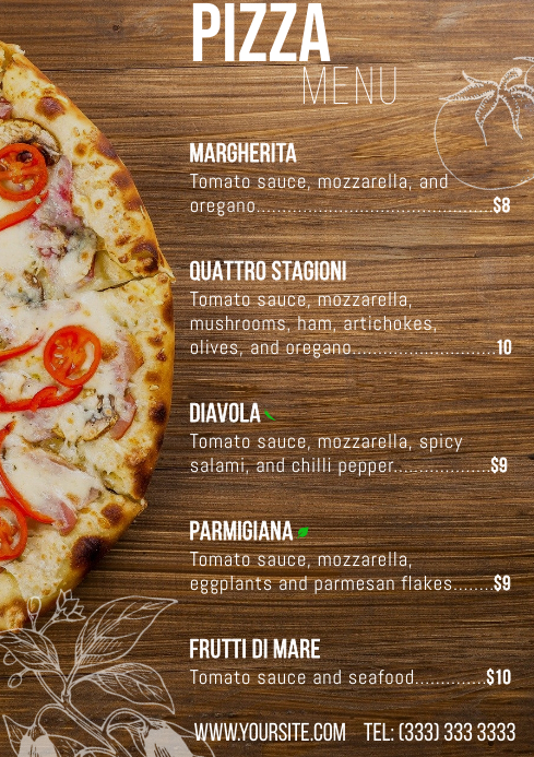 Pizza menu table a4 card 2 template